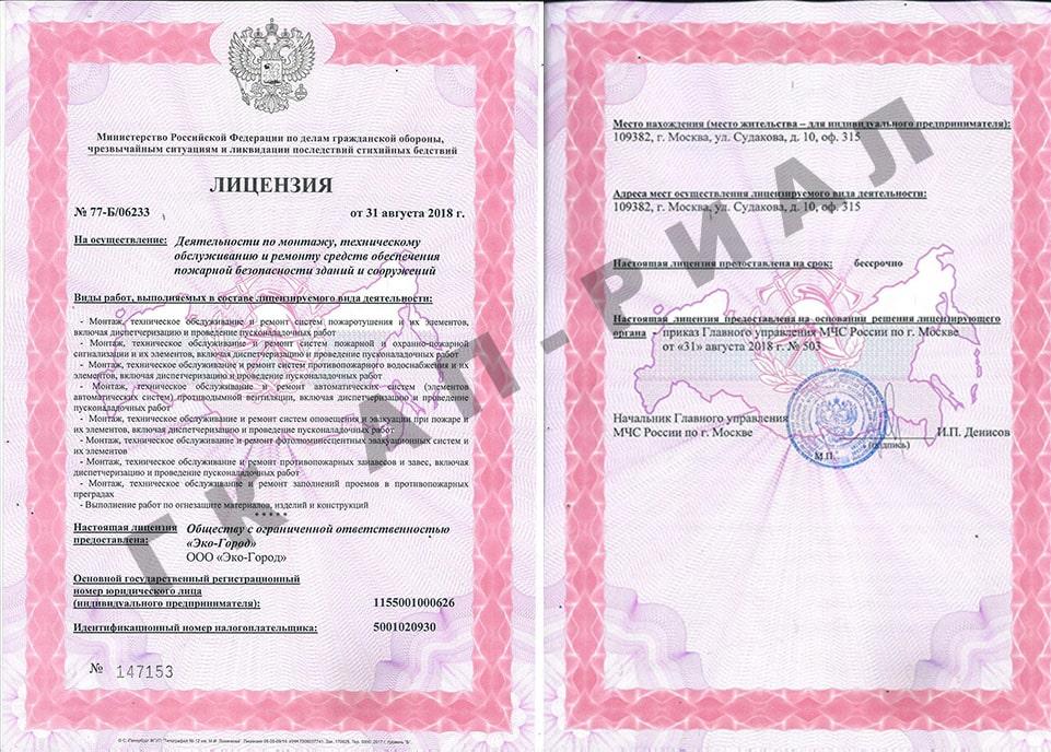 Лицензия МЧС ООО Элмаст