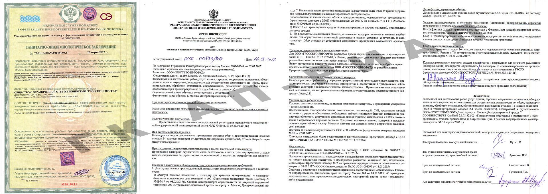 Санитарно-эпидемиологическое заключение на отходы ООО Гроссето-Еврофуд